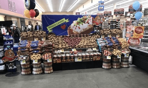 Image of potato display in grocery store